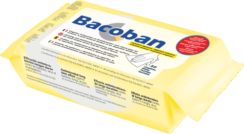 Bacoban DL Disinfecting (Medical) Surface Wipes 180x200mm (Flow Pack of 50)