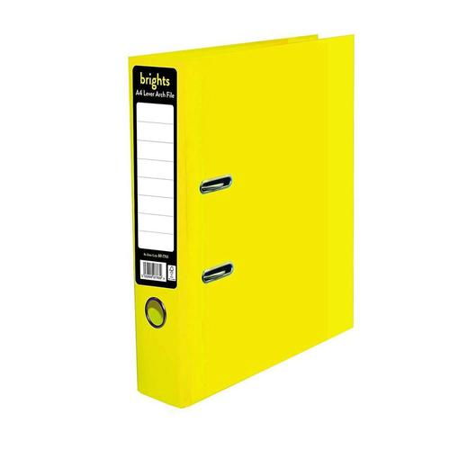 Pukka Brights Lever Arch File Laminated Paper on Board A4 70mm Spine Width Yellow (Pack 10)