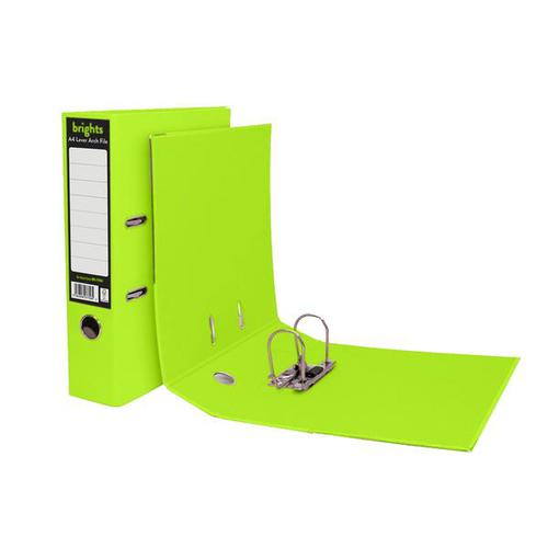 Pukka Brights Lever Arch File Laminated Paper on Board A4 70mm Spine Width Green (Pack 10)