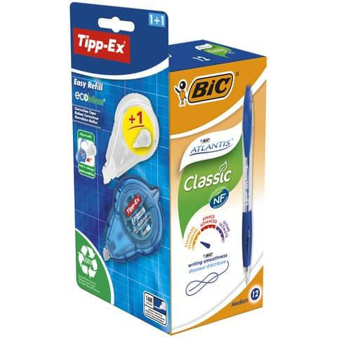 Bic Atlantis Blue PK12 with Free Tipp-Ex Ecolutions Easy Refill Correction Tape