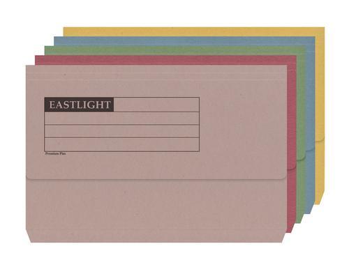 ValueX Document Wallet Manilla Foolscap Half Flap 285gsm Assorted (Pack 50)