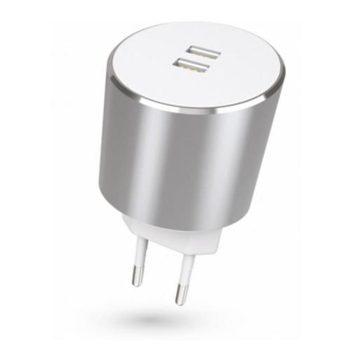 Dual USB EU Mains Charger Silver 3.4A