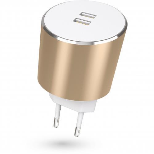 Dual USB EU Mains Charger Gold 3.4A