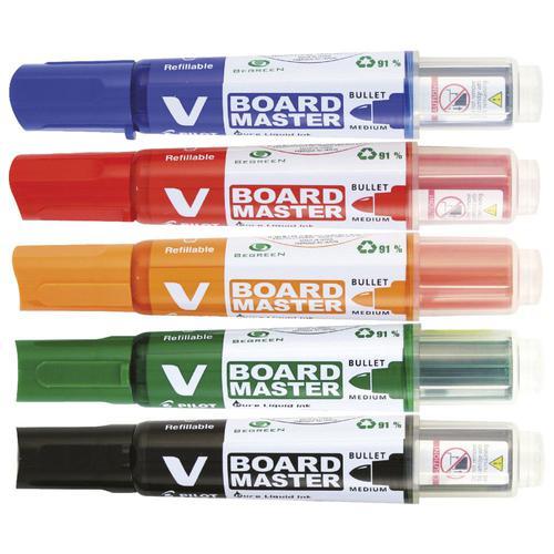 Pilot V-Board Master Whiteboard Marker Bullet Tip 2.3mm Line Assorted Colours (Pack 5)