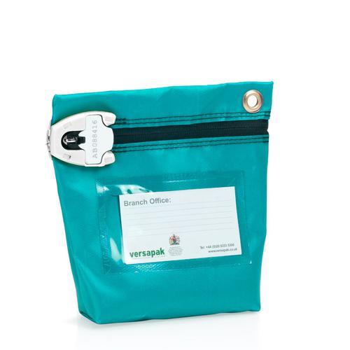 Versapak Antimicrobial Cash Bag Small 152x178x50mm T2 Lock Aqua (Pack 5 Plus 100 Free T2 Seals)