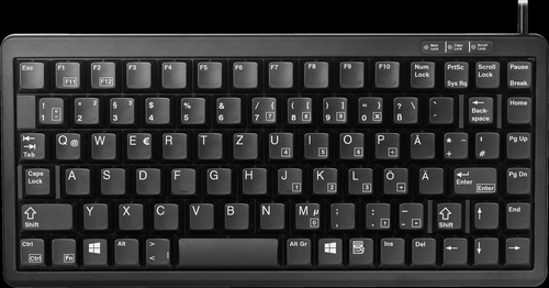 USB PS2 QWERTY German Keyboard Black