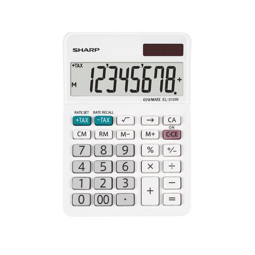 Sharp EL310W B Desktop Calculator 8 Digit Angled Display