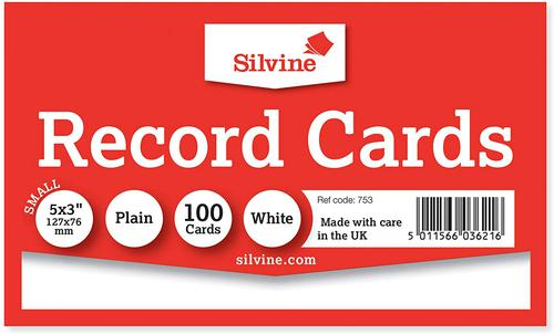 ValueX Record Cards 127x76mm Plain White (Pack 100)
