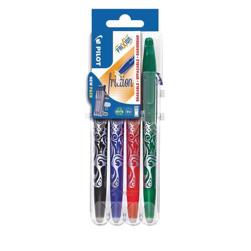 Pilot Set2Go FriXion Erasable Gel Rollerball Pen 0.7mm Tip 0.35mm Line Black/Blue/Green/Red (Pack 4)