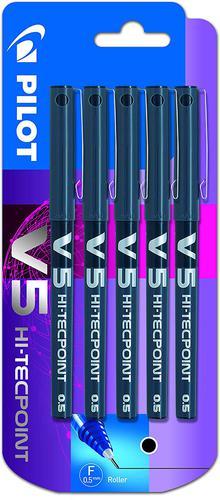 Pilot V5 Hi-Tecpoint Liquid Ink Rollerball Pen 0.5mm Tip 0.3mm Line Black (Pack 5)