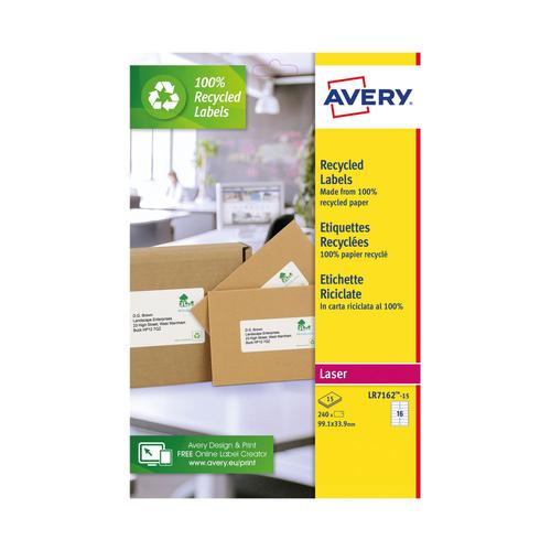 Avery Recycled Address Labels 16 Per Sheet 240 Labels