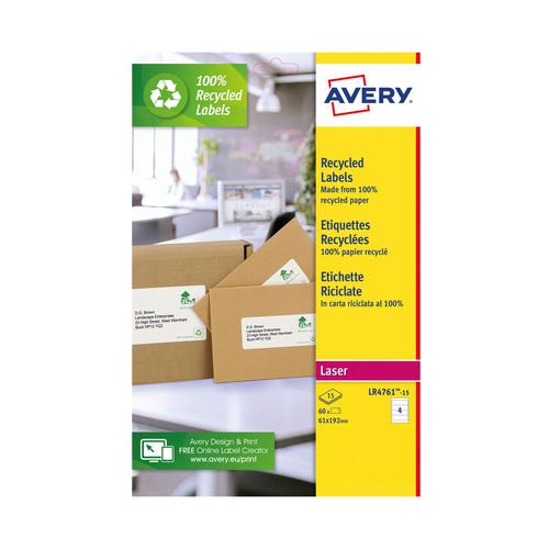 Avery Recycled Filing Labels 4 Per Sheet 60 Labels