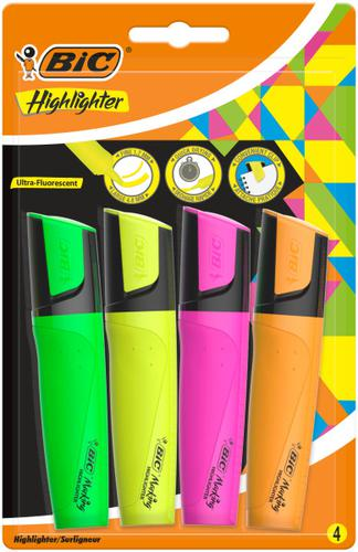 Bic Highlighter Pen with Clip Chisel Tip 1.7-4.8mm Assorted Colours (Pack 4)