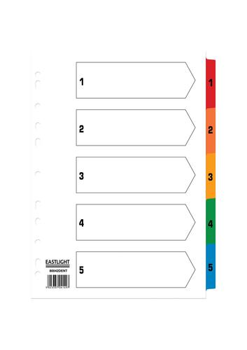 ValueX Index 1-5 A4 Card White with Coloured Mylar Tabs