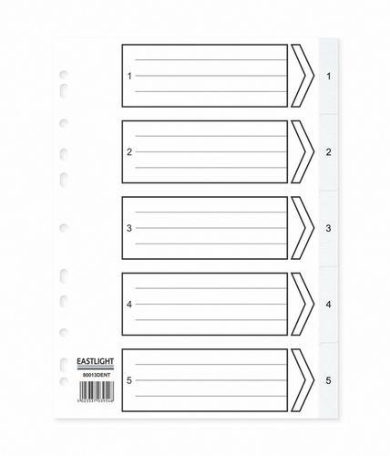 ValueX Index 1-5 A4 120 Micron Polypropylene White
