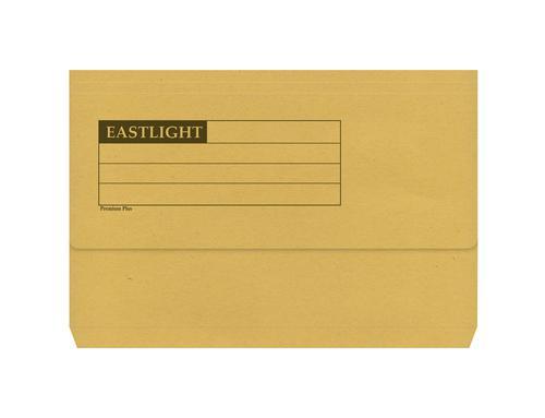 ValueX Document Wallet Manilla Foolscap Half Flap 285gsm Yellow (Pack 50)