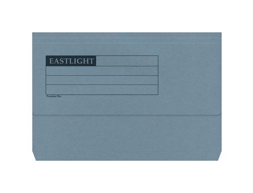 ValueX Document Wallet Manilla Foolscap Half Flap 285gsm Blue (Pack 50)
