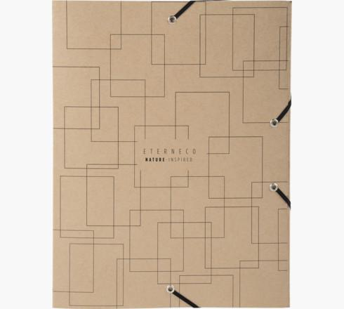 Exacompta Eterneco Filing Box Coated Card A4 40mm Spine Width Elastic Closure Brown Geometrical Design (Pack 8)