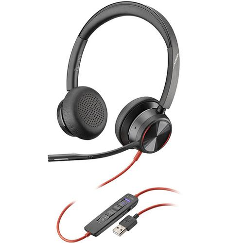 Poly Blackwire 8225 M USB A Headset ANC Microphone Certified for Microsoft Team with Built in Teams Button Flexible Boom and Wearing Style