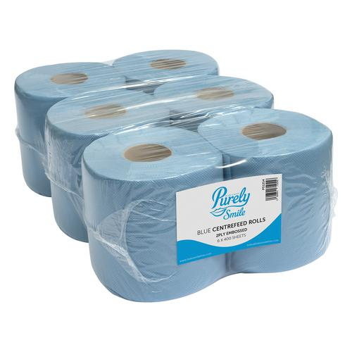 Purely Smile Centrefeed Rolls 2ply 400 Sheet Blue Pack of 6 +Free Office Protection Kit PS1214+PP9410