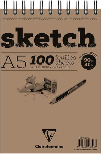 Sketch Wirebnd Pad A5 100sh White (Pack 5) 96606C