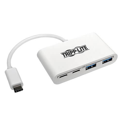 Tripp Lite 4 Port USB C Hub USB C to 2x USB A 2x USB C USB 3.0 White