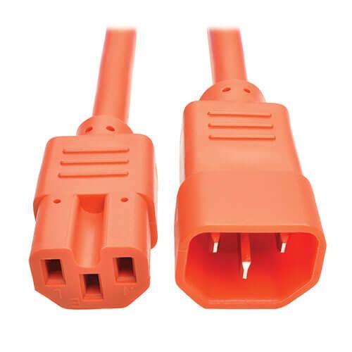 Tripp Lite Power Cord C14 to C15 Heavy Duty 15A 250V 14 AWG 2ft Orange