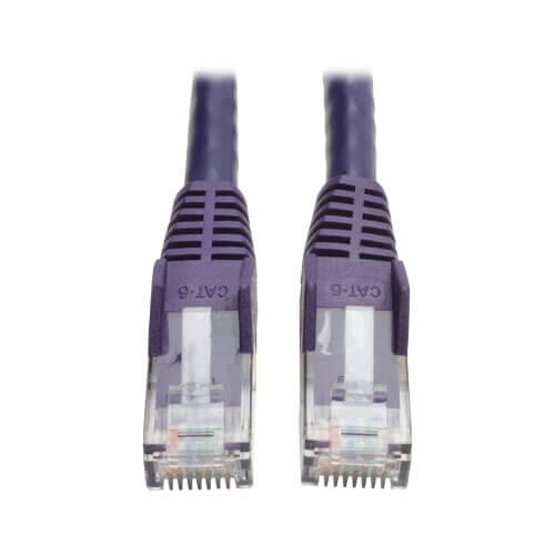 Tripp Lite Cat6 Gigabit Snagless Molded UTP Ethernet Patch Cable RJ45 Purple 3ft