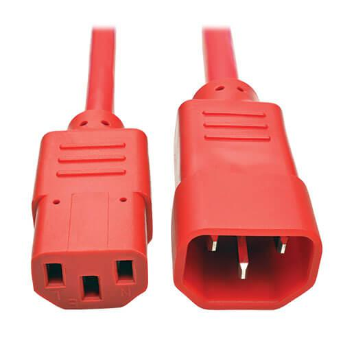 Tripp Lite PDU Power Cord C13 to C14 10A 250V 18 AWG 3ft Red