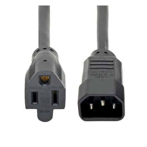 Tripp Lite NEMA 5 15R to C14 Computer AC Power Cable 10A 125V 18 AWG 1ft Black