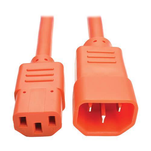 Tripp Lite PDU Power Cord C13 to C14 10A 250V 18 AWG 3ft Orange