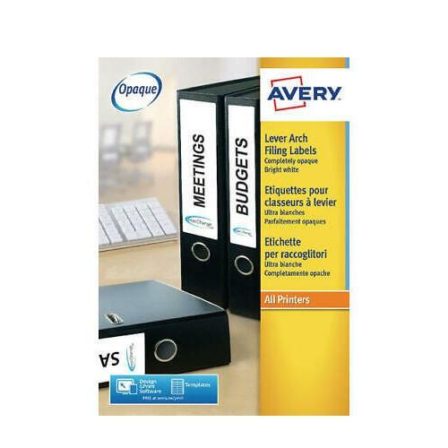 Lever Arch Labels Inkjet 200x60mm White 4 labels per sheet 40 labels per pack