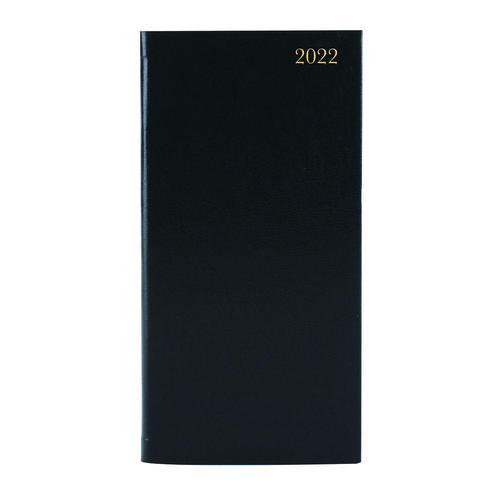 ValueX Slim Pocket Diary 2 Weeks To View 2022 BK BUSSLIM2 Black