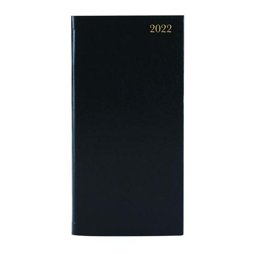 ValueX Slim Pocket Diary Week To View 2022 BK BUSSLIM1 Black