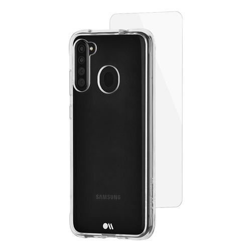 Case Mate Samsung Galaxy A21 Protection Pack Clear Phone Case Plus Glass Screen Protector Drop Proof Dust Resistant Scratch Resistant