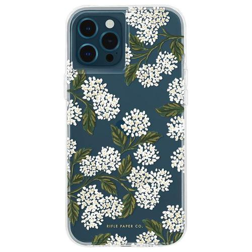 Case Mate Riffle Paper Co Hydrangea White iPhone 12 iPhone 12 Pro Phone Case Micropel Antimicrobial Protection