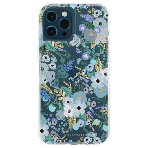 Case Mate Riffle Paper Co Garden Party Blue iPhone 12 Mini Phone Case Micropel Antimicrobial Protection Drop Proof Dust Resistant Scratch Resistant