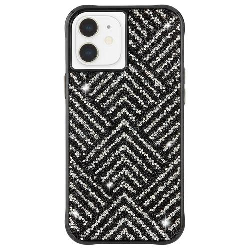 Case Mate Brilliance Herringbone iPhone 12 Mini Phone Case Black Silver Crystals Micropel Antimicrobial Protection Drop Proof Dust Resistant