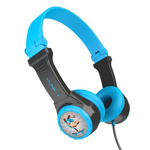 JLab Audio Kids Folding Headphones On Ear Wired and Kid Safe with Volume Limiter Noise Isolation and 8 x Character Stickers Anti Tangle Blue
