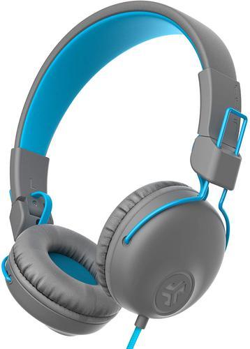 JLab Audio Studio Wireless On Ear Headphones 30 Plus Hour Bluetooth 5 Play Time Custom EQ3 Sound Cloud Foam Ear Cushions Built In Microphone Grey Blue