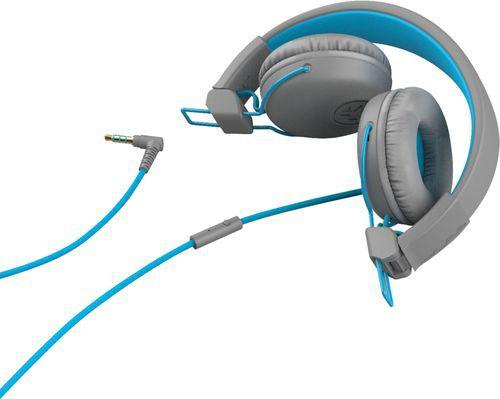 JLab Audio Studio Supraaural Headphones Headband 3.5mm Connector Studio Comfort C3 Sound Tangle Free In Line Microphone Blue Graphite