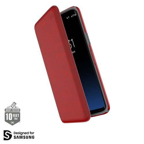 Speck Presidio Folio Samsung Galaxy S9 Plus Heathered Red Phone Case Adjustbale Viewing Stand Two Layers of Protection Lab Tested Durability