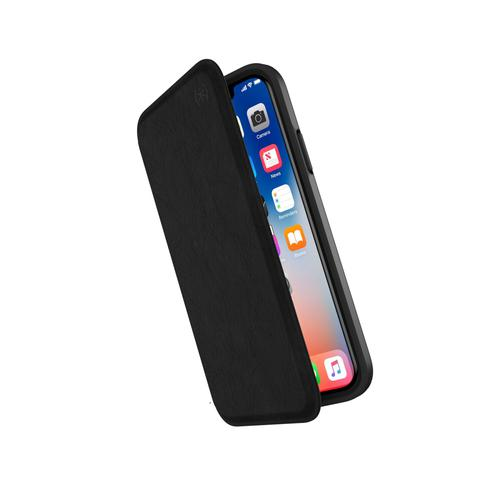 Speck Presidio Folio iPhone X Black Leather Phone Case IMPACTIUM Rubber Adjustable Viewing Stand Two Layers of Protection