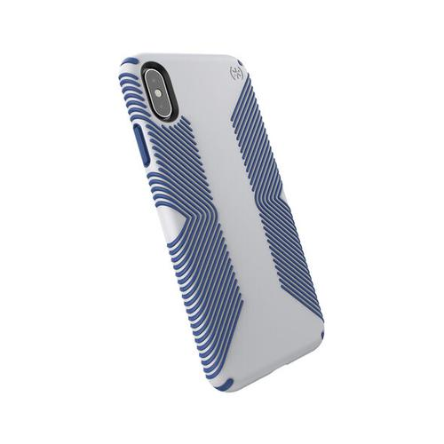 Speck Presidio Grip iPhone XS Max Blue Grey Phone Case IMPACTIUM Shock Barrier Two Layers of Protection Raised Bezel Screen Protection No Slip Grip
