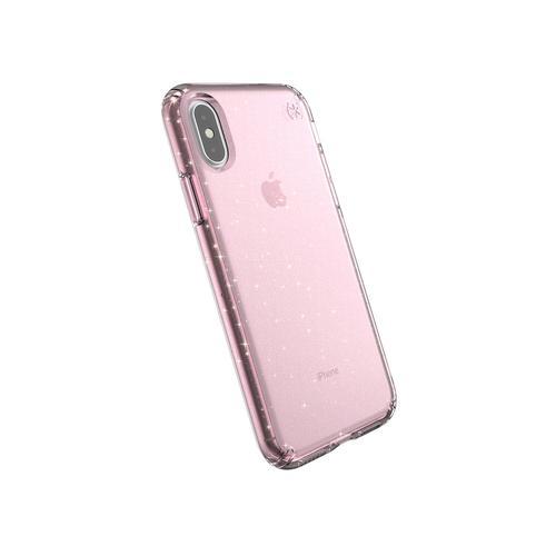 Speck Presidio Clear Plus Glitter Apple iPhone X XS Bella Pink Gold Glitter TPU Phone Case IMPACTIUM Shock Barrier UV Resistant