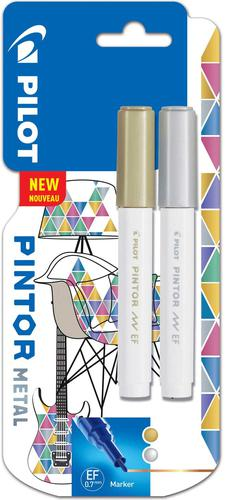 Pilot Pintor Extra Fine Bullet Tip Paint Marker 2.3mm Gold and Silver Colours (Pack 2) 3131910536840