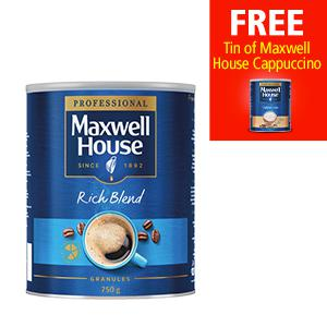 Maxwell House Coffee 750g (Pack 2) with a FREE Maxwell House Instant Cappuccino Coffee 750g