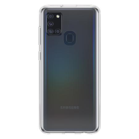 OtterBox React Series Clear Phone Case for Samsung Galaxy A21S Drop Plus Protection One Piece Design Soft Touch Edges Raised Screen Bumpers