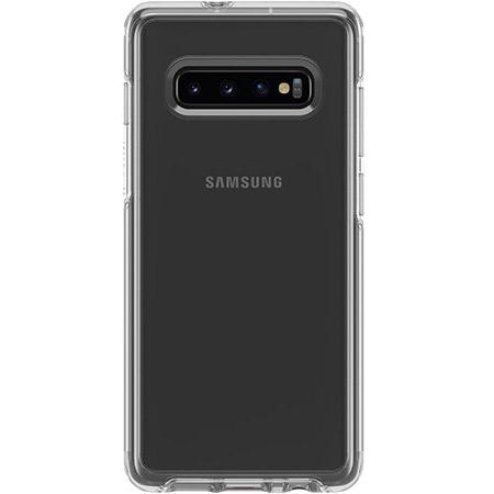 OtterBox Symmetry Series Clear Phone Case for Samsung Galaxy S10 Plus Scratch Resistant Drop Proof Slim Design Raised Beveled Edge Screen Bumper
