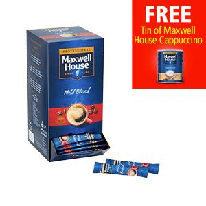 Maxwell House Coffee 200 Sticks (Pack 2) with a FREE Maxwell House Instant Cappuccino Coffee 750g